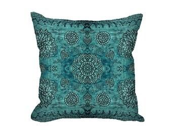 Bohemian decor, baroque Pillow Cover, boho decor, teal Pillow Cover, bohemian pillow cover, floral pillow cover, rustic decor