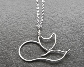 Fox Necklace - Silver Wire Fox Pendant, Fox Charm