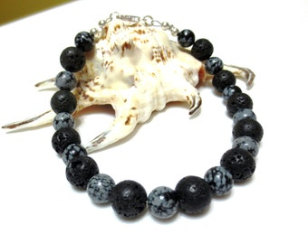 Black Men's Bracelet, Gray Jasper, Sterling Silver, Large Bracelet
