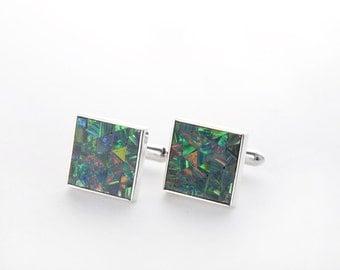 Opal Mosaic Sterling Silver Cufflinks