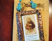 Saint Francis of Assisi Stained Glass Holy Card Turquoise beaded hanger with Copper Finish