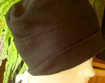 womens Hat chemo hat black cloche Cotton chemo caps