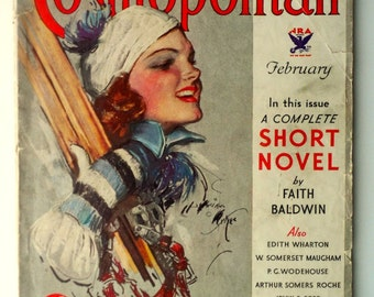 "1934 Original Hearst's International ""Cosmopolitan"" Magazine - Vintage Magazine - Ski Cover - Harrison Fisher - Ski Art"
