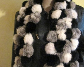 Vintage Fur Scarf.  Rabbit Fur Scarf.  Pom Pom Fur Scarf.  Black White Gray Fur Scarf.