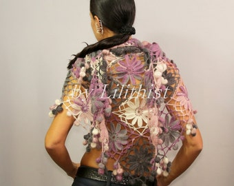 Flower Shawl, Crochet Shawl, Bridal Lace Shawl, Bridal Wrap, Wedding Shawl, Lace Shawl, Shrug Bolero, Lilac, Grey, Ivory Shawl, Boho Style