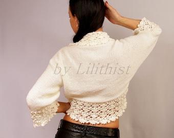 Ivory Shrug, Bolero, Knit Bolero, Crochet Shrug, Lace Bolero, Cape, Ivory Bridal Shrug Wedding Bolero 3/4 Sleeve Cardigan Sweater Pink Shrug