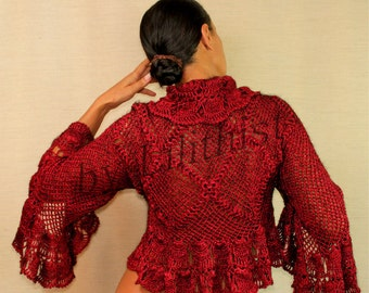 Burgundy Black Lace Shrug, Bridal Shrug Bolero, Crochet Bolero, Red Shrug, Evening Cover Up 3/4 Sleeve Ruffle Cardigan, Unique Wedding Shrug