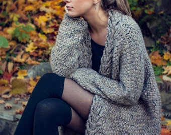 KNITTING PATTERN - Dreamy Weave Cardigan - Relaxed Fit - Oversized - Written English Pattern - Direct Download PDF