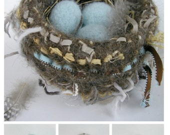 PDF-PATTERN. A Knit & Felt Wool Bird Nest and Eggs Downloadable PDF Pattern
