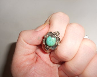 Turquoise Ring Navajo Sterling Silver Tribal Dead Pawn 40s Squash Blossom Style Vintage Native American Size 6