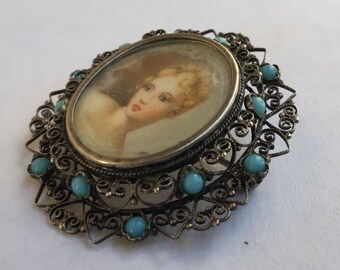 Turquoise Portrait Pendant-Brooch -Watercolor Cameo Gouache Hand Painted Lady On Filigree 800 Coin Silver Setting with Gemstone Accent