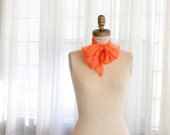 Vintage Silk Scarf - 1960s Chiffon Scarf - Clementine Silk Scarf
