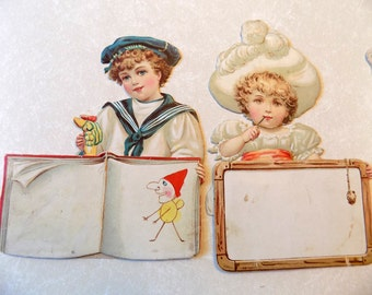 Die Cut Vintage Victorian Children Cards/ Standing Place Cards or Name Cards/ Embossed