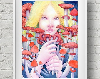 Keeper of the Scarlet Garden : print alice in wonderland mushroom watercolor painting