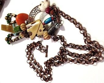 "Nepal Necklace, 18.5"" incl. Pendants...Handmade Etsy, Amber, Bone, Christmas, Kwanzaa, Boho Chic, African Chic, OOAK. Birthday"
