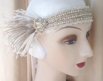 1920s headdress edwardian headband rhinestone web headpiece art nouveau with ivory and brown feathers-Natalia-made to order