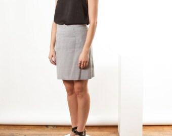 Houndstooth A-Line Skirt / Midi High Waisted Skirt / Black and White Flare Skirt