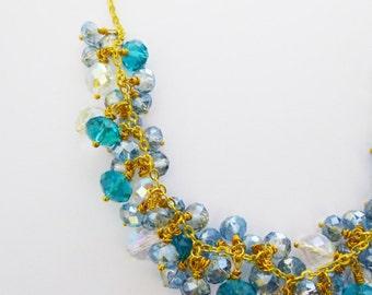 Bridal Statement Necklace Beaded Jewelry Something Blue Ocean Green Teal Crystal Bead Cluster Mermaid Bride Beach Wedding Accessories Gift