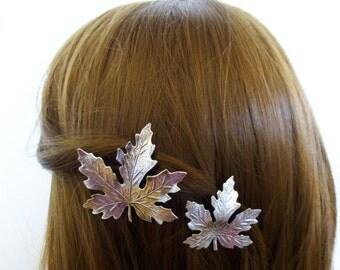 Wedding Hair Accessories Silver Maple Leaf Clips Bridal Barrettes Bride Bridesmaid Autumn Fall Rustic Woodland Garden Botanical Womens Gift