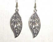 Antiqued Silver Filigree Leaf Earrings - Surgical Steel French Hooks