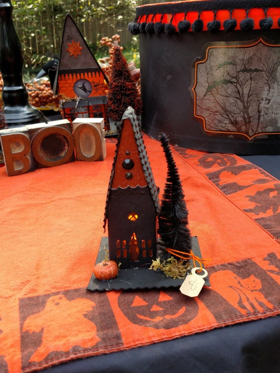 Mini paper Halloween haunted house by VintageCharmcreation on Etsy