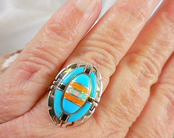Turquoise Opal Coral  Sterling Ring