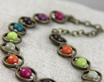Jewel Tone Palette Necklace - Colorful Stone Pink Purple Orange Green Teal Brown Antique Silver Necklace Rainbow Statement