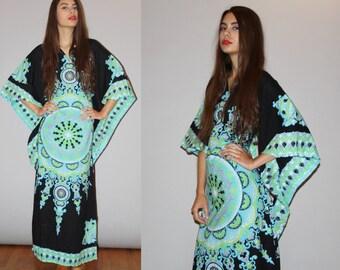 Tribal Dashiki Vintage 1960s Neon Pastel African Wax Print Kaftan Caftan Maxi Dress - Vintage 60s  Caftan  - Vintage Hippie Dress - WD0916