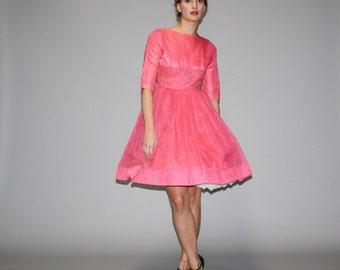 Vintage 1950s Pink  Cupcake Prom  Dress  - Vintage Prom Dress - Vintage 50s Pink Dresses  - WD0657