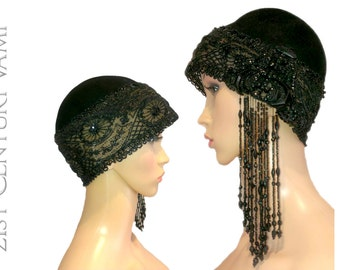 1920s Film Costume Hat. Wool Felt and French Jet Beaded Headpiece. Silent Film Era.  MGM provenance. Old Hollywood.