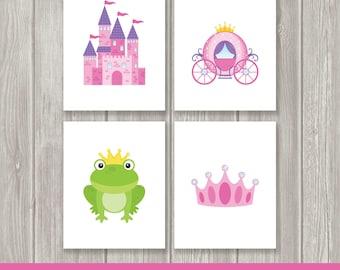 Princess Nursery Decor - Princess Wall Art - Princess Prints - Carriage - Frog - Crown - Set of Four