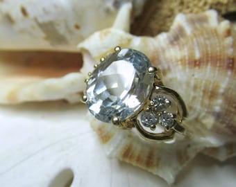 14k Aquamarine and Diamond Ring 5.10ctw 4.47g Sz 6