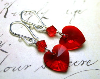 Heart Earrings In Siren Red - Sterling Silver And Swarovski Crystal in Light Siam - Wire Wrapped Hearts -