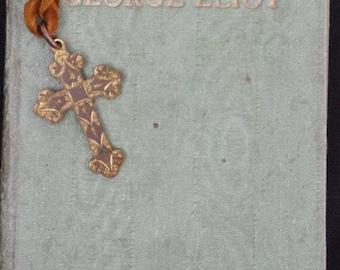Antique - Medieval design Cross - Brass Double sided  - Book mark with Velvet ribbon - c1930s