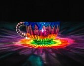 HandPainted Solar Daisy Luminary Lantern ReCLAIMED teacup punch cup Lit by SolarPowered LED from ReCLAIMED path light 4 Spring Garden Lights