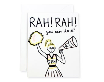 You Can Do It Cheerleader Letterpress Card