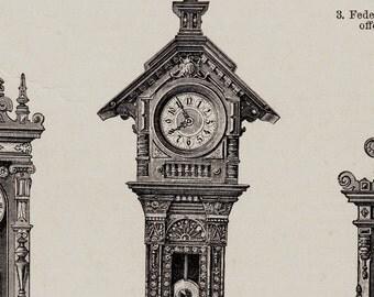 Antique print, 1893 VICTORIAN CLOCKS, old WATCH, Wall clock, clock chime,