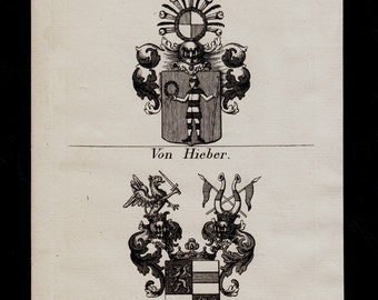 1823 Antique decorative HERALDRY art print, Coats of Arms from Germany, armorial bearings, emblem, shields, antique print