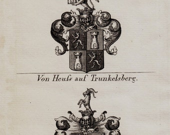 1823 Antique HERALDRY print,  Coats of Arms from Germany, armorial bearings, emblem, shields, antique print