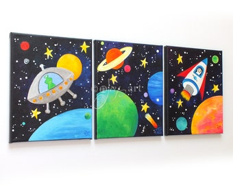 Space Themed Art for Kids, Set of 3 original 8x10 acrylic paintings, flying saucer, rocket, planets