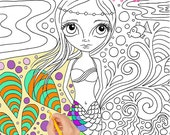 "Colouring Book for Adults or Kids! Mermaids, fairies, skulls, witches! ""Colour Me In"" with artist Jaz Higgins"