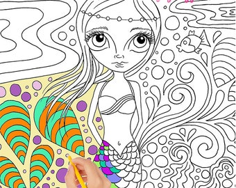 """Printable colouring book / ebook for adults or kids. Mermaids, fairies, skulls & witches! """"Color me In"""" by Jaz Higgins."""