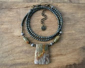 Picasso Jasper Pendant Necklace, rustic Bohemian style beaded jasper jewelry in sage green, lavender gray, and orange
