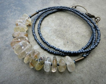 Rutilated Quartz Bead Necklace, rustic gray and yellow gold Bohemian inclusion quartz pebble jewelry, healing crystal