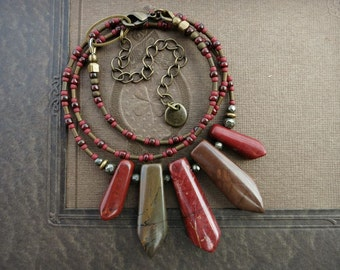 Jasper Tribal Necklace, red and brown statement jewelry, rustic Bohemian style Picasso Jasper stone bead fan necklace