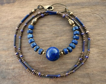Lapis Lazuli Necklace, rustic blue and gold Bohemian beaded jewelry in sapphire blue and gold brass