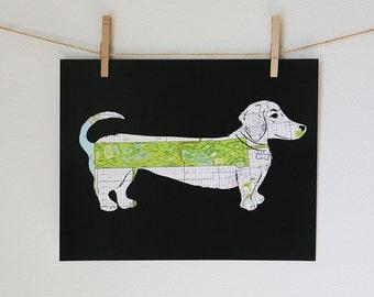 Weiner Dog Dachshund Golden Gate Park Map Art // 11x14 Poster Print // Golden Gate Bark