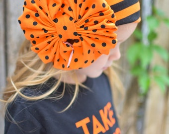 Monster Mash Halloween Messy Bow Head Wrap - Cozy Cotton 12 months to 12 years PINT