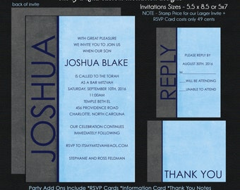 Blue and Black Bar Mitzvah Invitations - Choose Your Colors - RSVP Card - Thank You Note - Information Card - Envelope Addressing