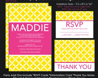 Modern Bat Mitzvah Invitations - Hot Pink and Yellow Diamond Pattern - Reply Card - Reception Card - Thank You Note - Use for ANY Event